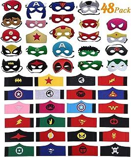 DREAMWIN 48 Piezas Máscaras de Superhéroe, Pulseras de Superhéroe, Máscaras de Fieltro Mitad Máscara de Cosplay con Cuerda Elástica Máscaras de Ojos para Niños