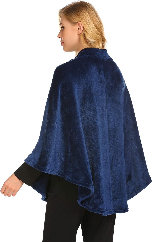 Ekouaer Flannel Faux Poncho for Women Lightweigh Blanket Warm TV Shawl Winter Coat Sweater Cape