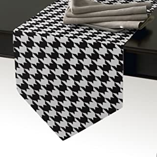 KAROLA Table Runner Classic Black and White Houndstooth Pattern, Tablecloth Placemat for Office Kitchen Wedding Party Home Decor 13