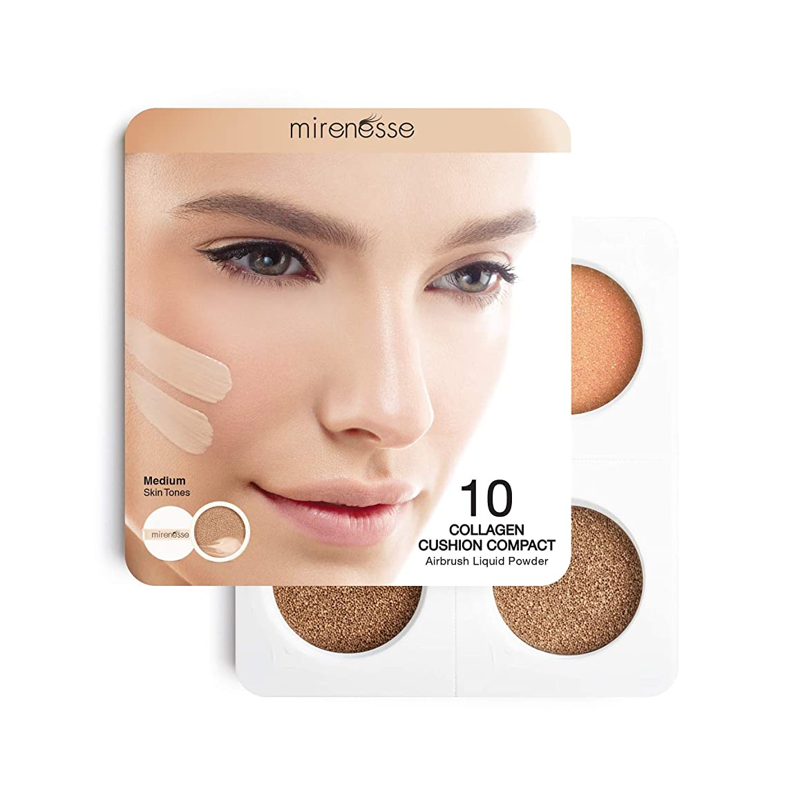 キャラクター流す小切手Mirenesse Cosmetics 4Pce 10 Collagen Cushion Foundation Sampler - Medium/Dark