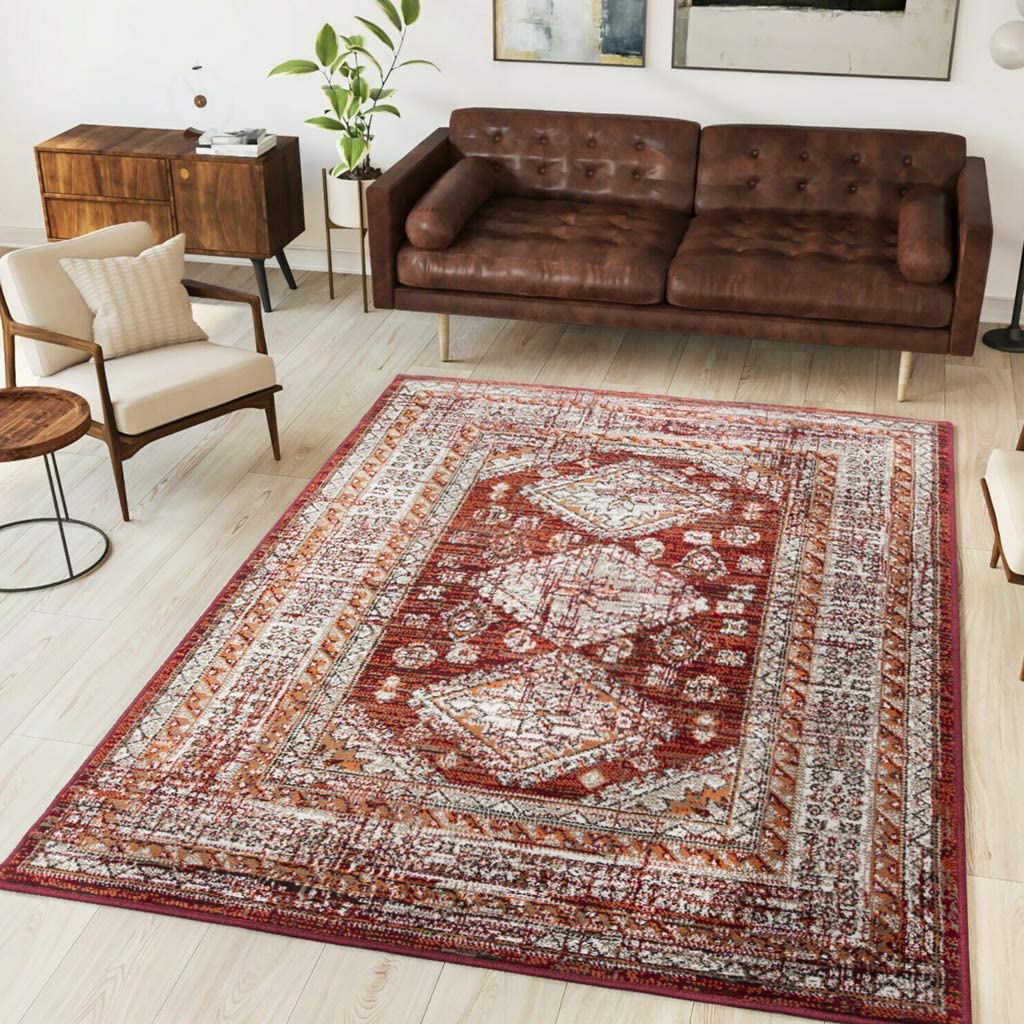 Traditional Year-end NEW before selling annual account Oriental Red Brown Cream Moroc Distressed Rug Luxury