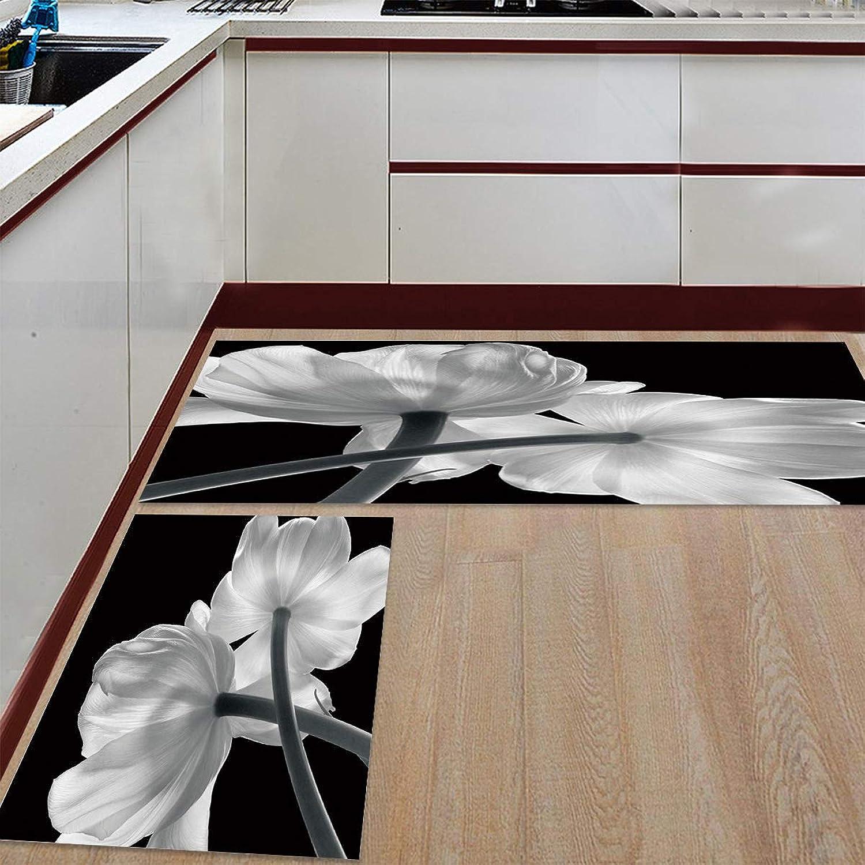Livencher Kitchen Mats 2 Piece Rubber Backing Non-Slip Kitchen Bathroom Mat Doormat Area Rugs - Tulip Pattern 23.6x35.4in+23.6x70.9in