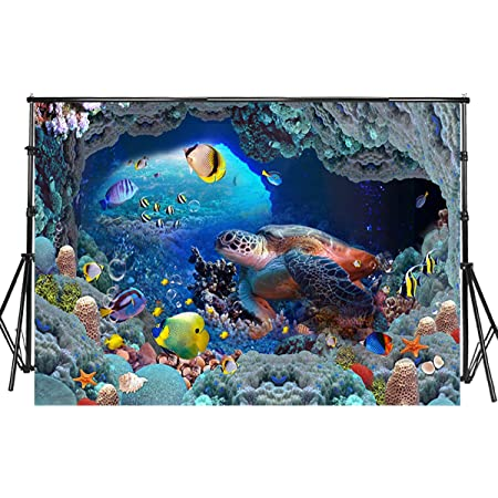 Turtle 8x10 FT Backdrop Photographers,Underwater World Cartoon Style Illustration Funny Fish Jellyfish Sea Horse Background for Baby Shower Birthday Wedding Bridal Shower Party Decoration Photo Studio
