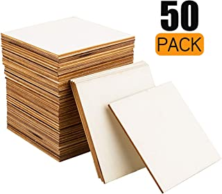 CBTONE 50 Pcs Unfinished Wood Pieces 4 x 4 Inch Square Blank Wood Natural Wooden Squares Cutouts for DIY Crafts, Painting, Staining, Carving, Coasters Making, Christmas, Home Decorations