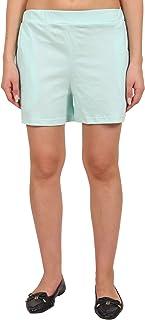 9teenAGAIN Women's Solid Hosiery Shorts(Aquamarine)