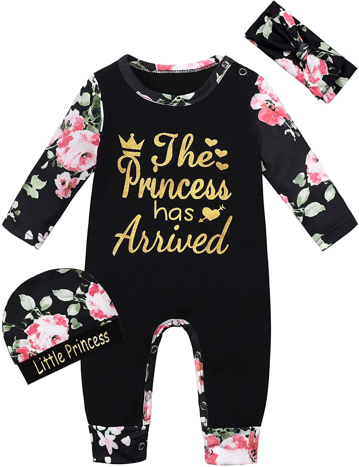 Challenge the lowest price Industry No. 1 Newborn Baby Girl Clothes Floral Romper Jum Long Sleeve Footless
