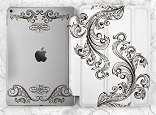 Black And White Ornament Leaves Art Case For Apple iPad Mini 1 2 3 4 5 iPad Air 2 3 iPad Pro 9.7 10.5 11 12.9 inch iPad 9.7 inch 2017 2018 2019