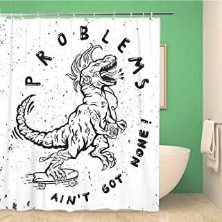 Topyee Shower Curtain Print-Shirt Skateboard Label of Dinosaur Ride Skate California Punk 60x72 Inches Waterproof Polyester Bathroom Decor Curtain Set with Hooks