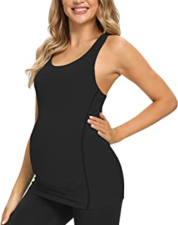 GLAMIX Women's Maternity Active Top Short Sleeve/Sleeveless Workout Athletic Pregnancy Shirt