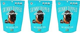 Skinny Dipped Almonds, Dark Chocolate Almonds Variety, 3.5oz, 5g plant based protein, Non GMO, gluten free, Cocoa/Espresso/Raspberry (Cocoa, Pack of 3)