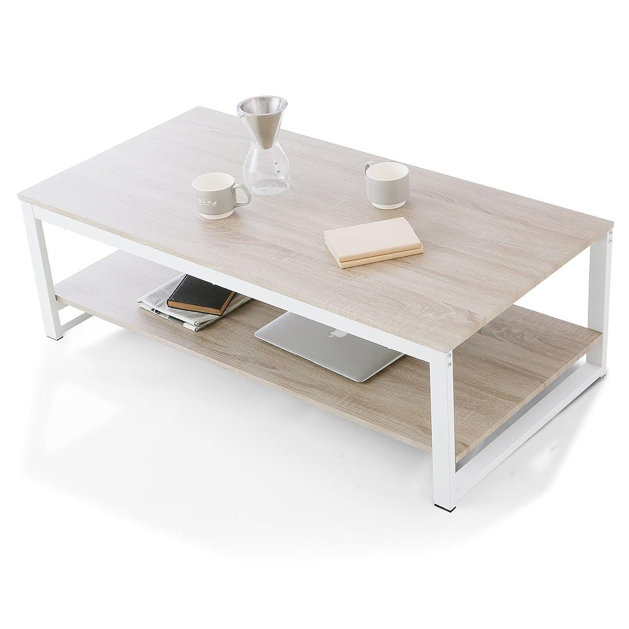 続編モニカ種LOWYA (ロウヤ) テーブル ローテーブル ソファと一緒に使える高さ 収納付 スチールフレーム リアル木目 センターテーブル 高さ38.5cm 幅120cm ナチュラル/ホワイト おしゃれ 新生活
