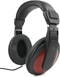 DURAGADGET Lightweight, Passive Noise-Cancelling, Supreme Comfort, Black/Red Stereo Over-Ear Headphones - Suitable for Yamaha NP-V80 NPV-80| P-105B| P-115B| P-115WH| P-45B
