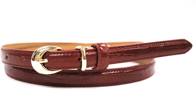 Bell la bell Women's Leather Thin Belt Adjustable Size Crocodile Pattern