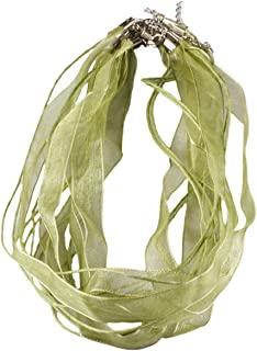 SUNYIK Olive Green Organza Ribbon Voile Cord Lobster Clasp Necklaces 19 inches Pack of 80