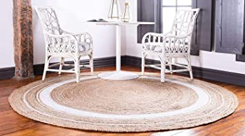 Buy Yasar Jute Round Rug Braided Reversible Carpet For Bedroom Living Room Dining Room And Home Decor 120 Cm Round Natural White Online At Low Prices In India Amazon In
