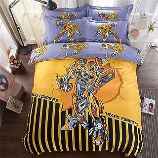 Cenarious Transformers Bumblebee Boys Cartoon Style Duvet Cover Set Cotton Flat Sheet Bed Cover - 3Pcs Bedding Set - Twin Flat Sheet Set - 61