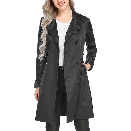 f09ef419d Long Black Coat with Belt: Amazon.com