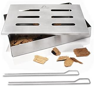 Amazy Caja ahumadora + 2 brochetas – Caja de Ahumado para Carne o Pescado Apta para lavavajillas – DELE a Sus Platos el típico Sabor de la Barbacoa Americana