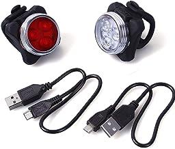 Unigear LED Luz Delantera y Trasera Bicicleta Lámpara Impermeable Clip/Correa Silicona 2 Cable USB Frontal Posterior Recargable 4 Modo 650mAh Reflector Bici Seguridad Faro de Señal