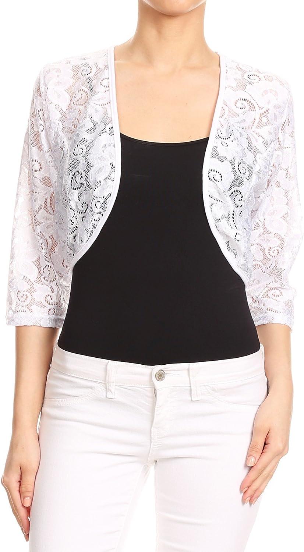 Misha Women's Sheer Lace Shrug Cardigan Bolero. Made in USA. (S~3XL)