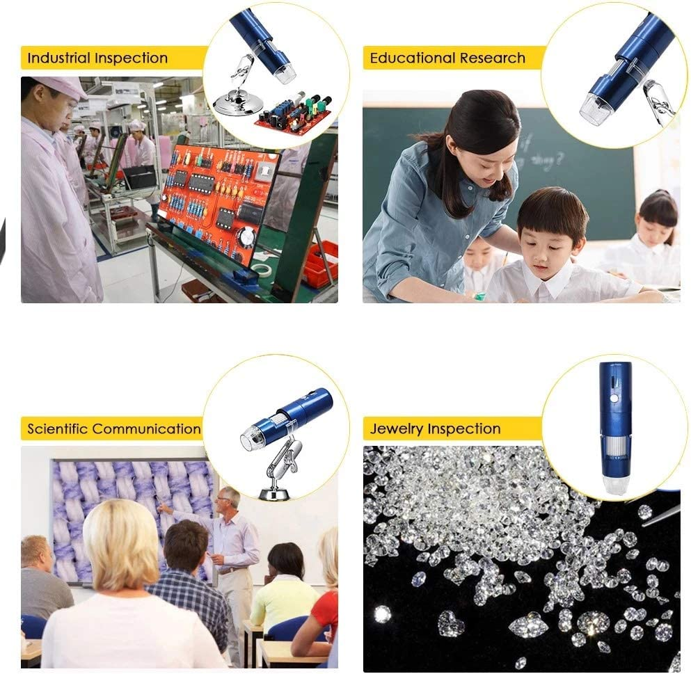 Magnification Endoscope Wireless Wi-Fi Digital Zoom Microscope Handheld Magnifier 2MP Camera 8-LED Light Magnifying Glass Compound Microscope Interesting Tool Color : Black , Size : One size