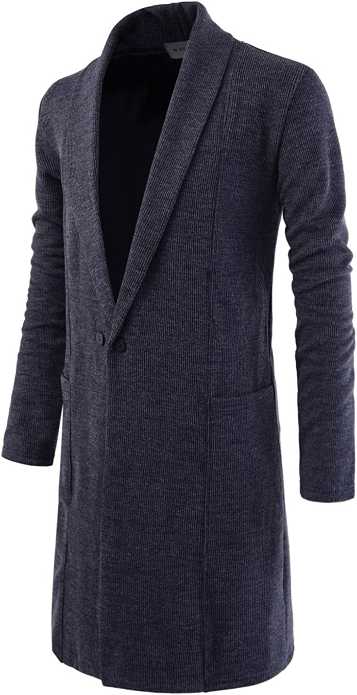 NEARKIN Slim Knitted Button Shawl-Collar Sweater Comfy Long Cardigans for Men