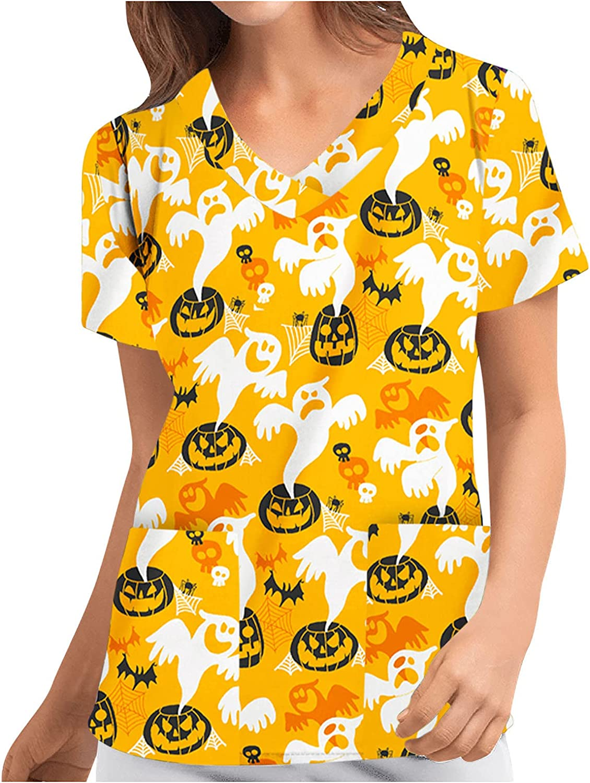 Women's Workwear Tops Halloween Funny Pumpkin Skeleton Scrubs Work Blouse Shirts Pocket V-Neck Sleeve TShirt Working Uniform