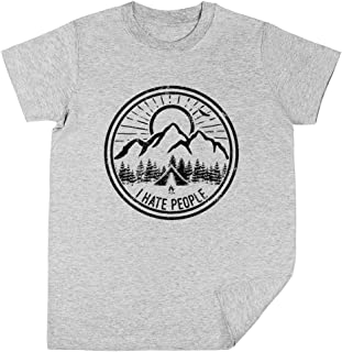 Wigoro Camping I Hate People Camping Lovers Mountain Climbing Hiking Gift Shirt Niños Unisexo Chicos Chicas Gris Camiseta ...