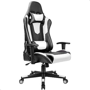 BASETBL Chaise Gaming, Fauteuil Gamer, Siège Gaming Ergonomique, avec Support Lombaire, Appui-Tête, Mécanisme Basculent 360°