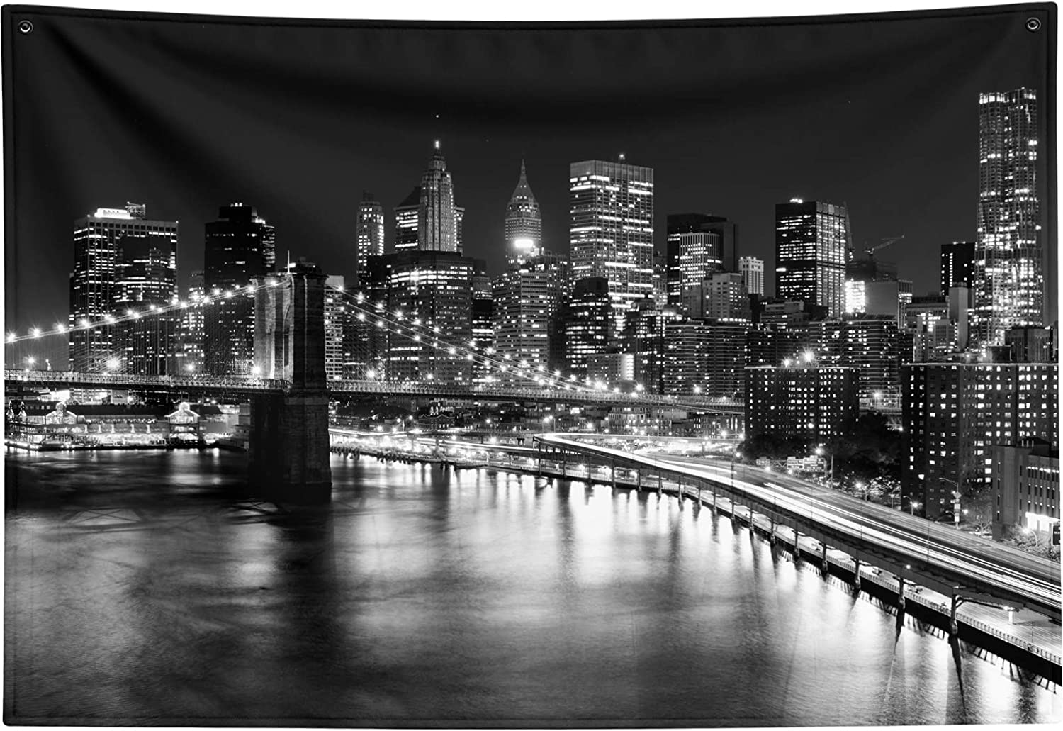New York City Tapestry Black and New Free Shipping Brooklyn White Max 72% OFF Bridge