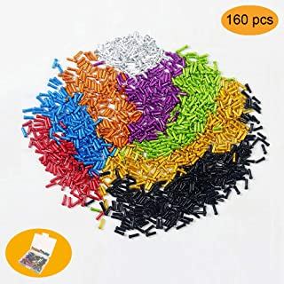 Huture 160Pcs Alloy Bicycles Brake Cable Caps End Tips Shifter Crimp Ferrules Caps for Road Mountain Bikes, 20pcs Each Color of Red Black Gold Silver Green Blue Purple Orange