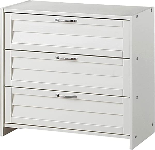 Donco Kids 795 BTW Louver 3 Drawer Chest White
