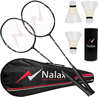 nalax Badminton Set, 2 Player Badminton Rackets Professional Graphite High-Grade Badminton Racquet with 3 Nylon Shuttlecocks and 1 Carrying Bag for Outdoor Backyard Games Perfect for Adults Kids