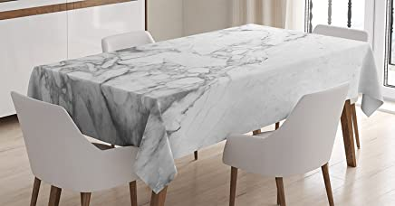 Ambesonne Apartment Decor Tablecloth by, Old Fashion Grungy Cultured Marbling Motif Formation Lines Artsy Design, Dining Room Kitchen Rectangular Table Cover, 60W X 90L Inches, White Grey