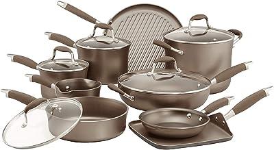 Anolon Advanced Umber Hard Anodized Nonstick Cookware Pots and Pans Set, 14 Piece, Light Brown