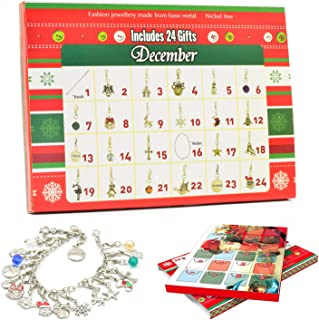Idubai Christmas Advent Calendar 2019 DIY Bracelet Necklace with 22 Charms Set, Surprise Xmas Countdown Calendar Christmas Holiday Calendar Gifts 24 Days Advent Calendar for Girls Women Daughter