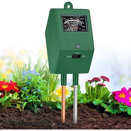 Abcidubxc Feuchtigkeitsbeleuchtungsmesser Hydroponisches Instrument Bodentester F/ür Garten Rasen Drei-in-Eins-Feuchtigkeits- // Tageslicht- // PH-Tester Bauernhof