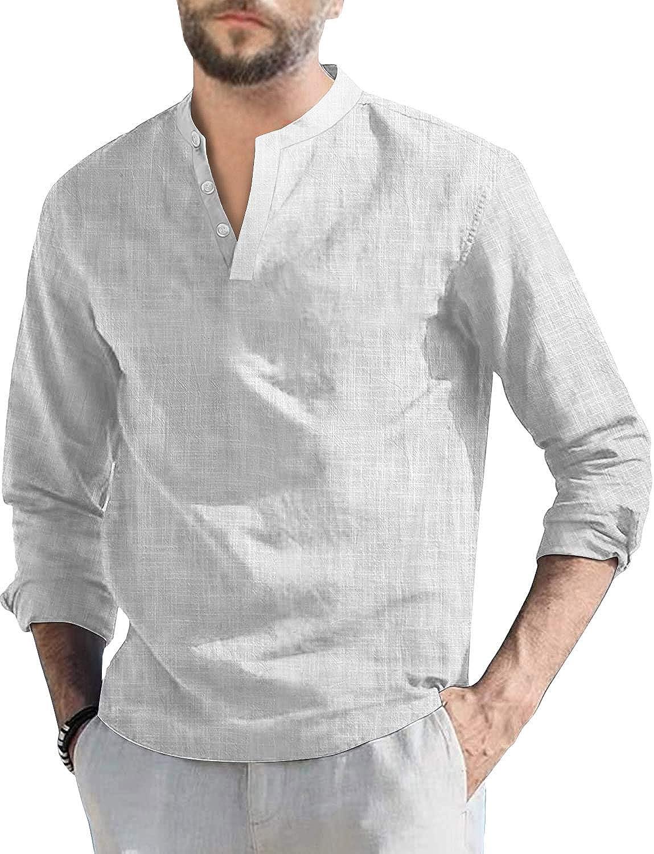Mens Long Sleeve Max 52% OFF Henley Shirt Our shop most popular Linen Summer Cotton Casu Fit Loose