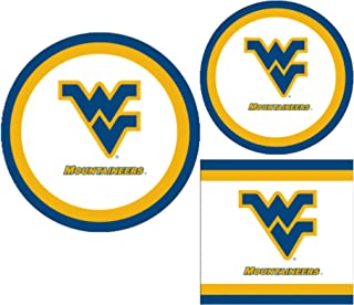 West Virginia University Mountaineers Party Supplies Themed Paper Plates and Napkins Serves 10 Guests