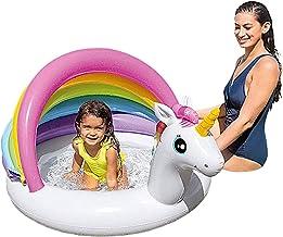 keleiesXD Centro de Juegos Inflable de Unicornio Piscina Inflable de Unicornio con toldo protección UV y Carpa para el Sol Piscina Inflable con protección UV y sombreado Apta para niños Suitable