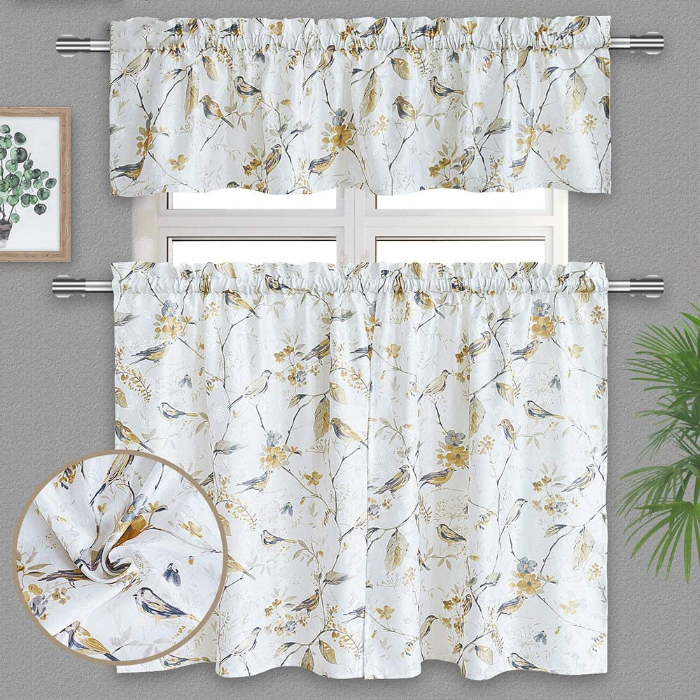 Gxi Bird Curtain Valance Don't miss the campaign Tier Set of 3 Semi Linen Limited time sale Blackou Panels