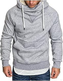 Mogogo Mens Oversized Basic Style Stand Up Collar Hooded Sweatshirt