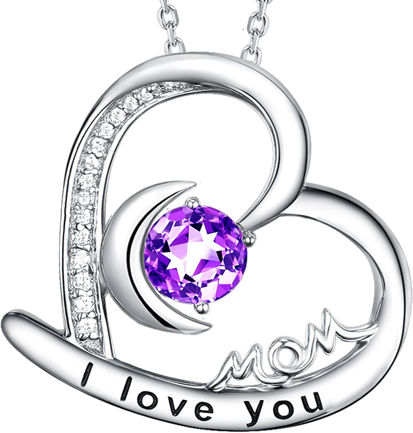 I Large special price !! Love You Mom Necklace Amethyst Jewelry M Simulated Diamond for Max 72% OFF