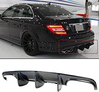 Fits for 2008-2011 Mercedes Benz W204 C250 C300 C63 AMG Big Shark Fin Carbon Fiber Rear Lower Bumper Diffuser