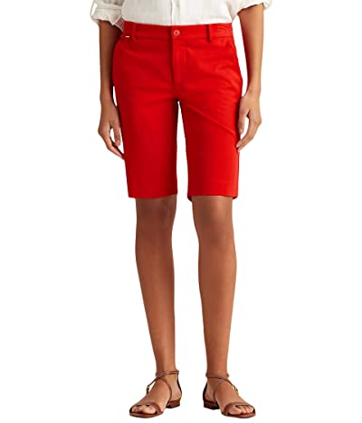 LAUREN Ralph Lauren Petite Bi-Stretch Twill Shorts (Orient Red) Women