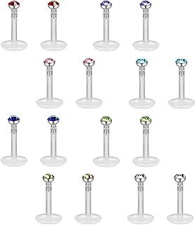 FIBO STEEL 16 Pcs 16G Clear Bioflex 2MM CZ Labret Monroe Lip Ring Helix Stud Earrings Body Jewelry Piercing