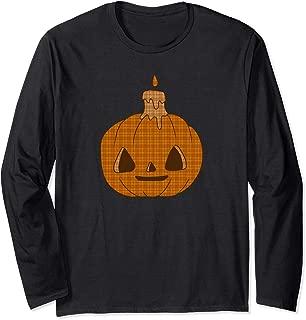 Rustic Halloween Pumpkin Jack O Lantern Kids Flannel Gift Long Sleeve T-Shirt