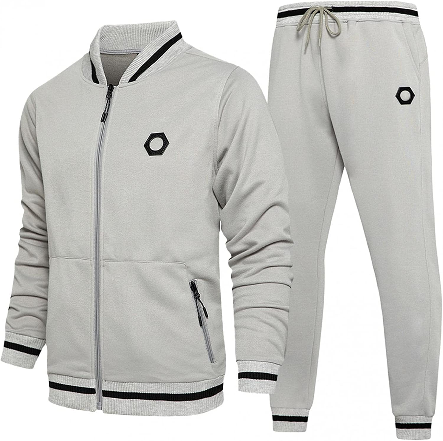 XUNFUN Men's Casual Tracksuit Long Sleeve Full-Zip Athletic Set Running Jogging Sports Jacket and Pants with Zipper Pockets