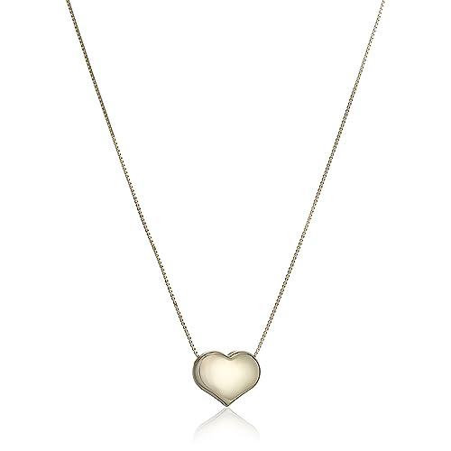 219b7c744 14k Yellow Gold Italian Box Heart Chain Necklace, 16