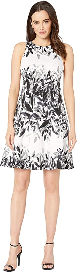 Cotton Sateen Whisper Leaf Cotton Fit & Flare Dress